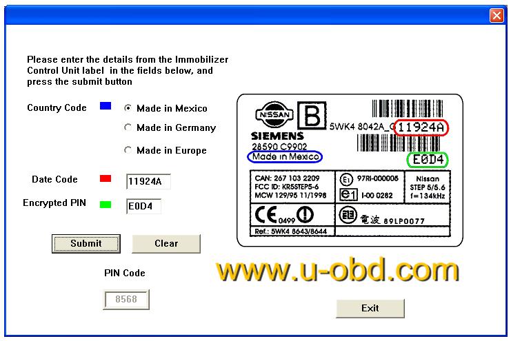 Nissan SIEMENS ECU PIN code calculator Free download