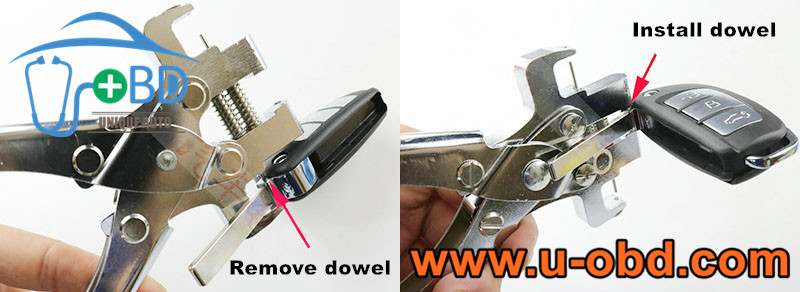 car keys dowel remove install pincers
