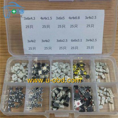 Automotive remote keys switch kit 10 types 250 PCS