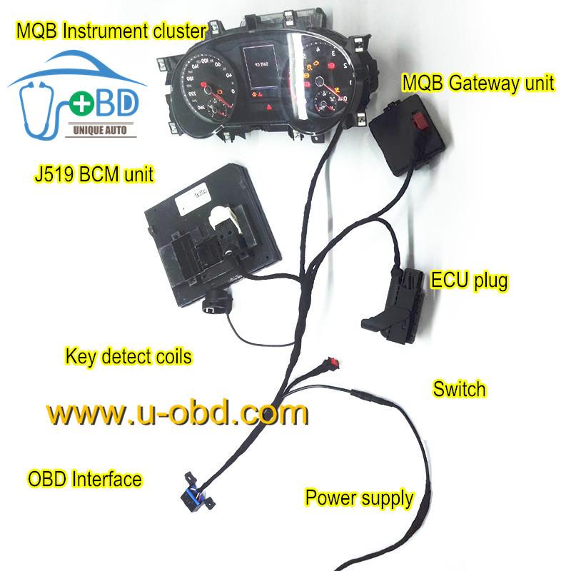 Volkswagen Audi MQB platform car key making cables test platform