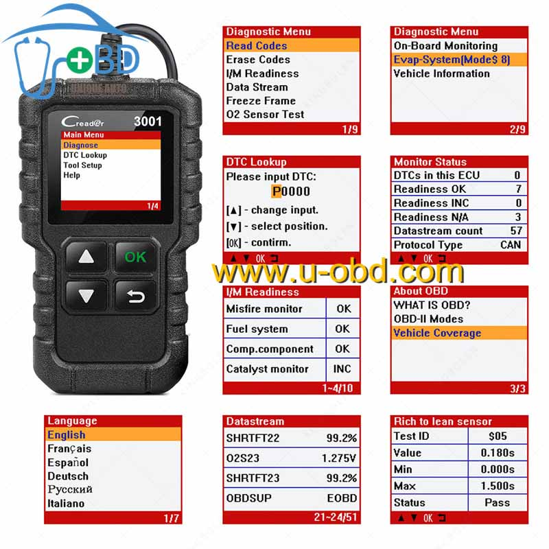 LAUNCH X431 CR3001 OBD Code Reader Full OBDII EOBD Function