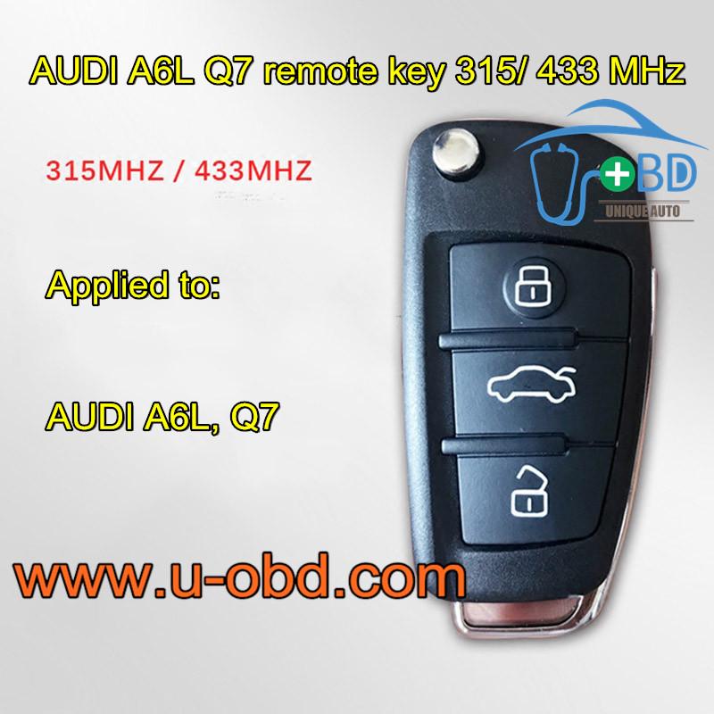 AUDI A6L Q7 remote key 315 MHz & 433 MHz