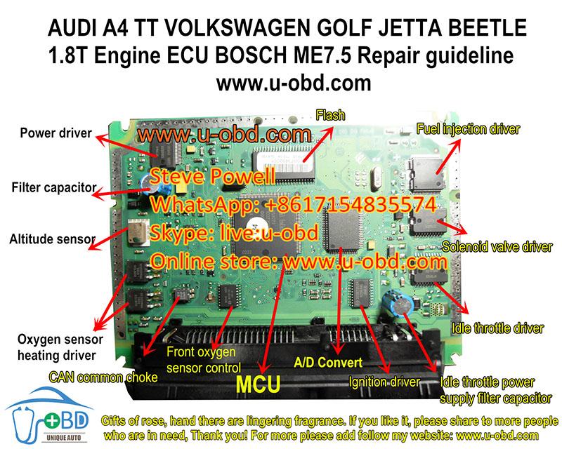 AUDI A4 TT PASSAT GOLF BEETLE JETTA 1.8T BOSCH ME7.5 ECU repair guideline