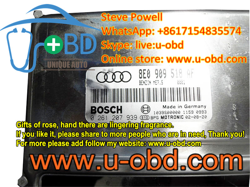 AUDI A4 TT Volkswagen Jetta Beetle Golf 1.8T engine BOSCH ME7.5 ECU repair solutions