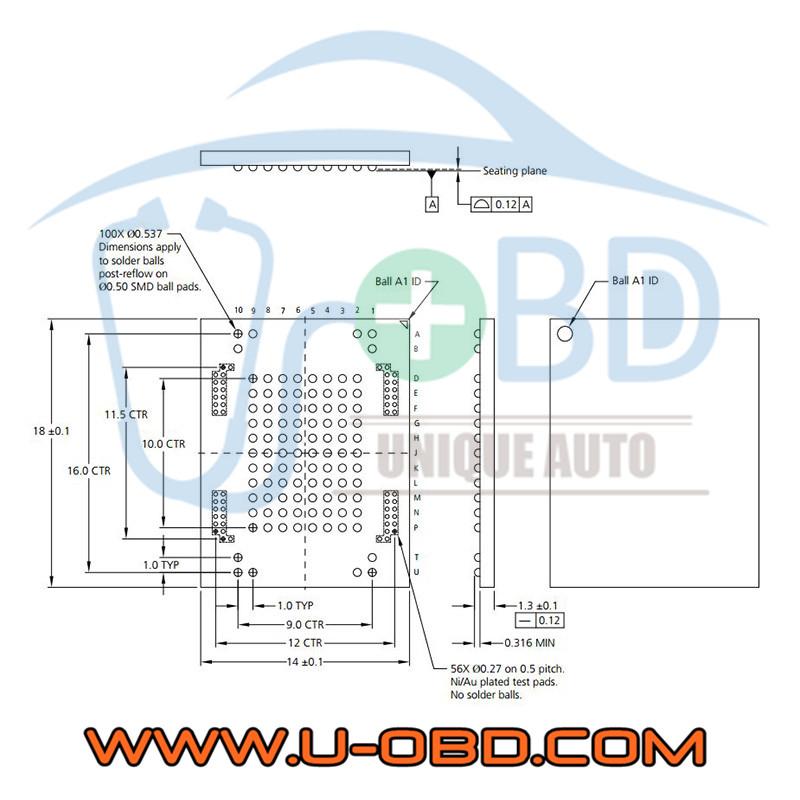Micron MTFC series LBGA100 BGA100 Memory chip programming adapter